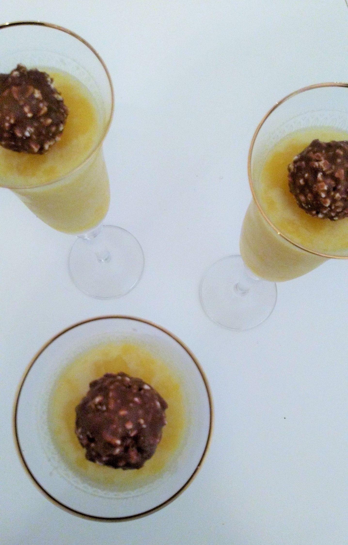 crema de chocolate blanco y mango