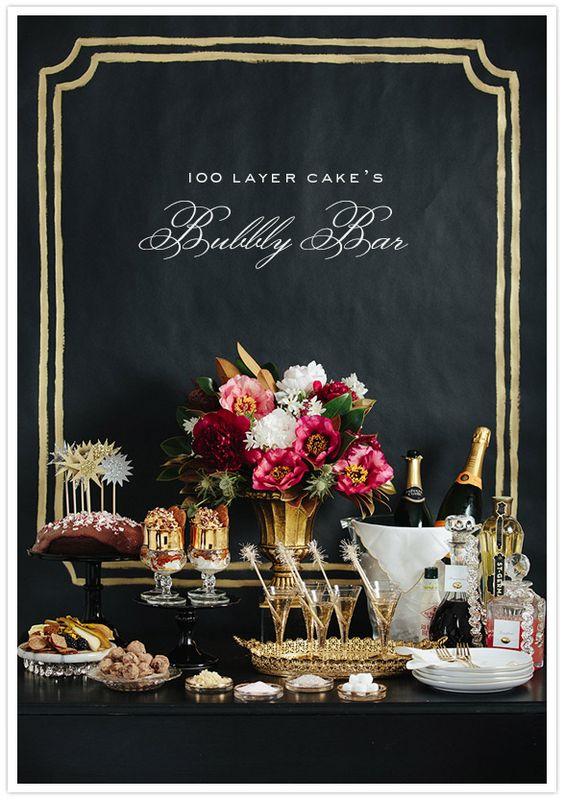Mesa con champán