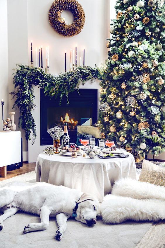 Chimenea y perro en Navidad