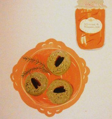 dibujo de las galletitas de nueces y romero